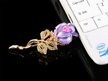 Stylish USB Drive - Rose Brooch