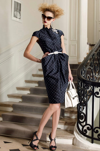 Christian Dior Black Dotted Pencil Dress