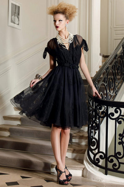 Christian Dior Black Dress with Pearl Necklace