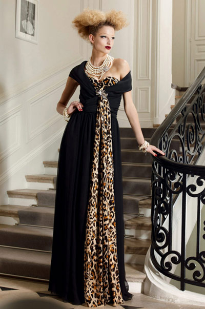 Christian Dior Black with Leopard Evening Gown