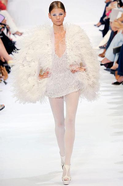 Elie Saab Mini-Dress with Feather Coat