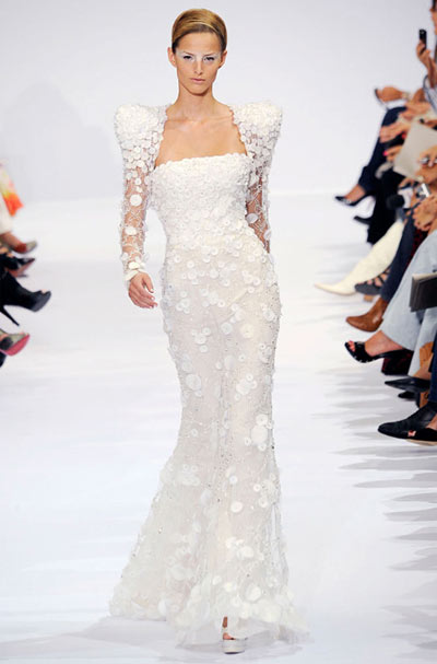 Elie Saab Strapless Dress with Sleeves