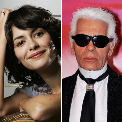 Karl Lagerfeld and Audrey Tautou