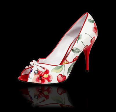 Marino Fabiani White and Red Floral Shoes