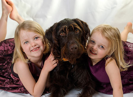 Little Girls and Dog
