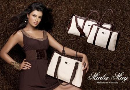 Marlee May White with Brown Handbag