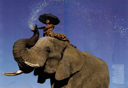 Naomi Campbell and Elephant