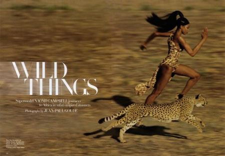 Naomi Campbell and Wild Things in Harper's Bazaar