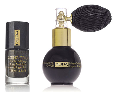 Pupa Black & Gold Nail Lacquer and Shimmering Powder