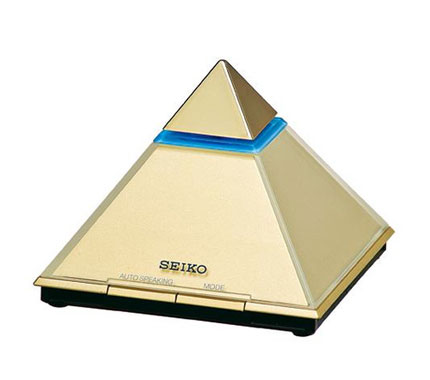 Seiko Pyramid-Shaped Gold Clock