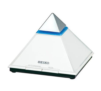 Seiko Pyramid-Shaped Silver Clock