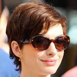 Anne Hathaway with boyish hairstyle