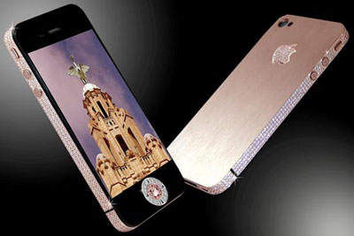 Gold and diamond Apple iPhone 4