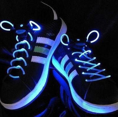 Blue LED shoelaces