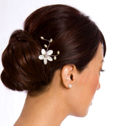 Woman with floral clip in her hair
