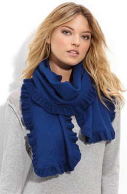Blue scarf with gathered edging