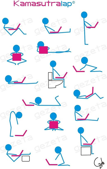 Positions for work at laptop