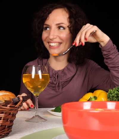 Woman, eating, wine