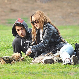Miley Cyrus and Josh Bowman at Griffith Park