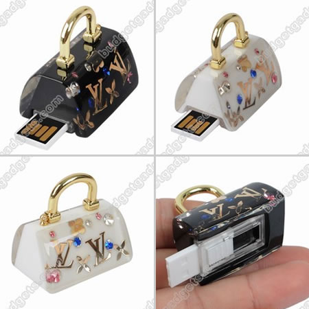 USB Flash Drive: Colorful Rhinestone LV Handbag Pattern