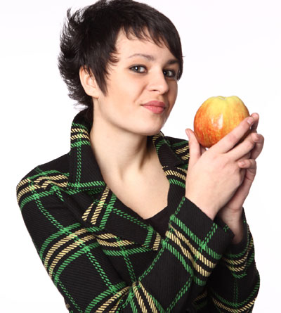 Woman, apple