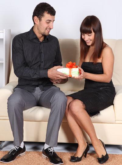 Man, woman, present