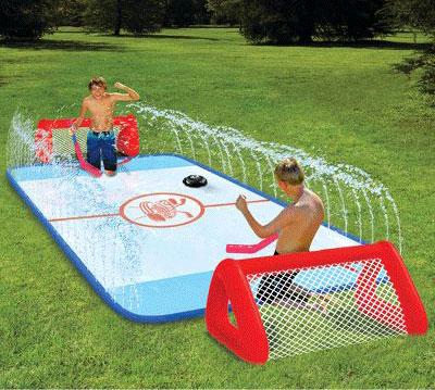 Water Soaked Knee Hockey Rink