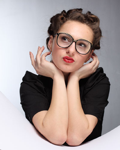 Woman, eyeglasses, lipstick