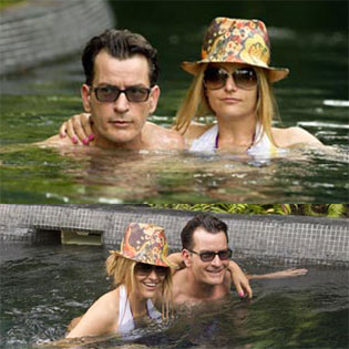 Charlie Sheen and Brooke Mueller on holidays