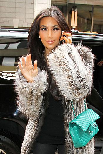 Celebrity Kim Kardashian in fur