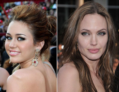 Miley Cyrus and Angelina Jolie makeup