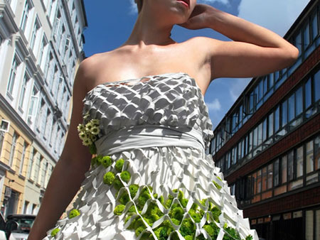 Mesh Dress with green plants on it