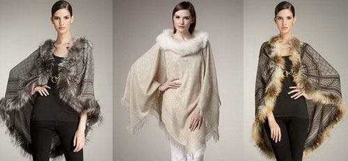 Trendy poncho with fur