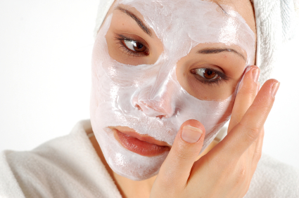 Woman Using a Facial Mineral Mask