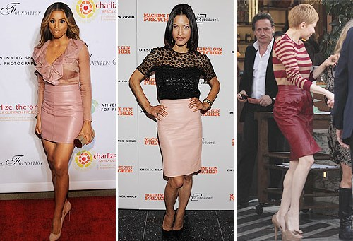 Latest Celebrity Fashion Trend: Leather Skirts | Celebrity Gossip ...