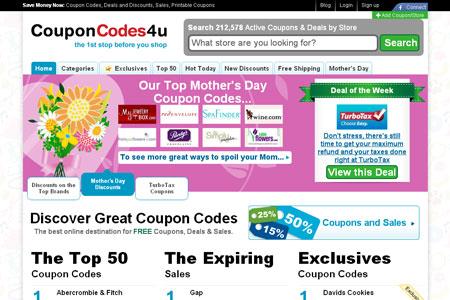 Couponcodes4u.com Site Look