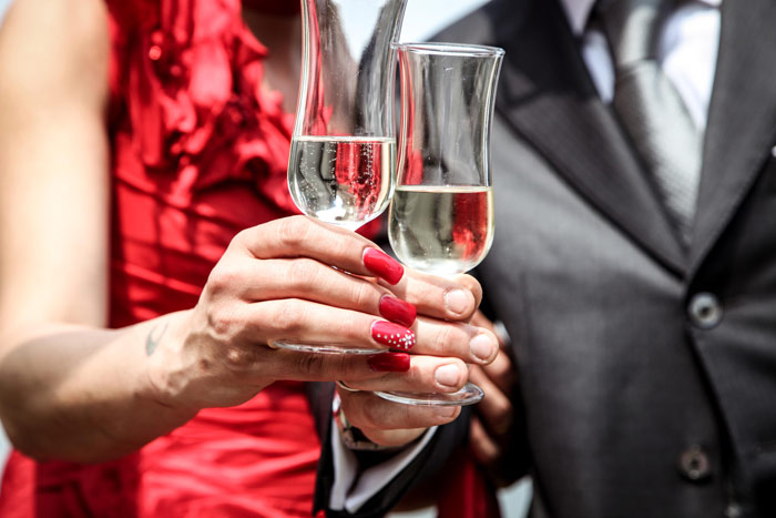 party-alcohol-champaign-nails-nail-art-red-dress-couple-happy